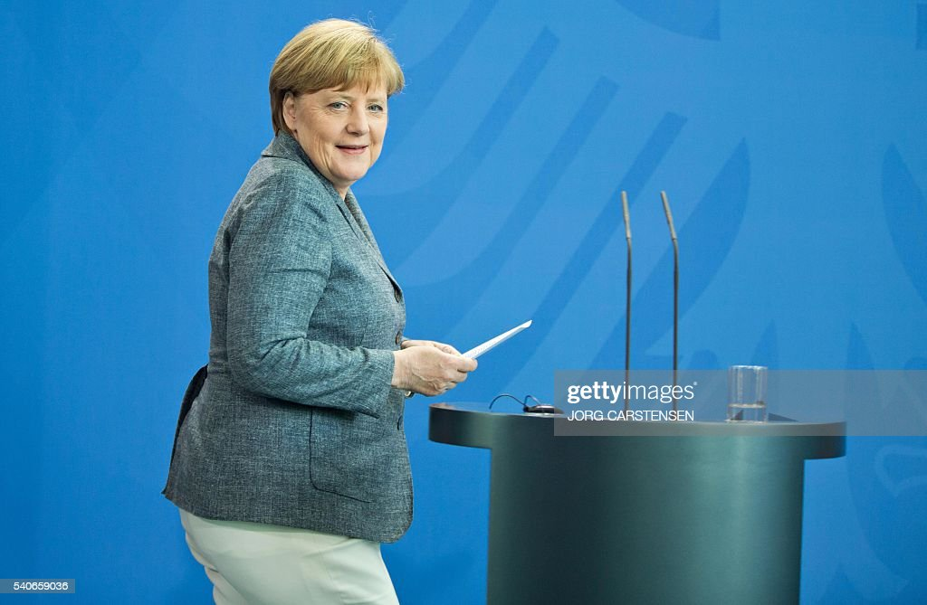 German chancellor Angela Merkel arrives for a press conference with Slovak Prime minister on June 16, 2016 in Berlin. / AFP / dpa / Jörg Carstensen / Germany OUT