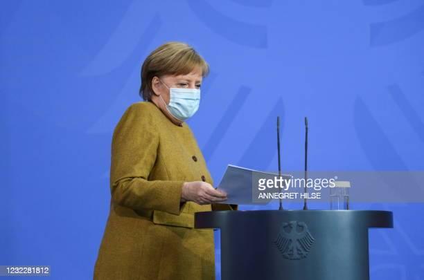 German Chancellor Angela Merkel arrives for a statement in Berlin, on April 13, 2021 amid the novel coronavirus COVID-19 pandemic.