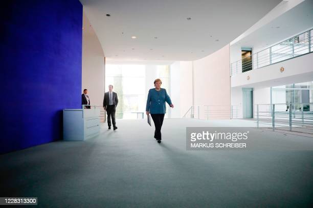German Chancellor Angela Merkel arrives for a statement on September 2, 2020 at the Chancellery in Berlin after tests carried out by the German army...