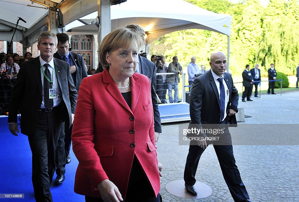 German Chancellor Angela Merkel arrives for a statutory Summit of the European People's Party (EPP), on June 16, 2010 in Meise, near Brussels, on the eve of an European Council gathering EU's heads of state. During the one-day meeting, EU leaders are expected to adopt 'Europe 2020', the new strategy for jobs and growth, and will also discuss the forthcoming G 20 summit, economic governance and post-Copenhagen climate strategy.
