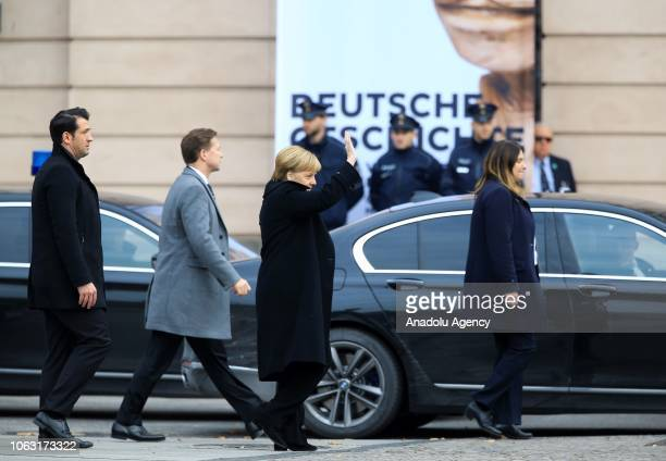 German Chancellor Angela Merkel arrives for a wreath laying ceremony at the Neue Wache Memorial to mark Day of National Mourning for victims of war...