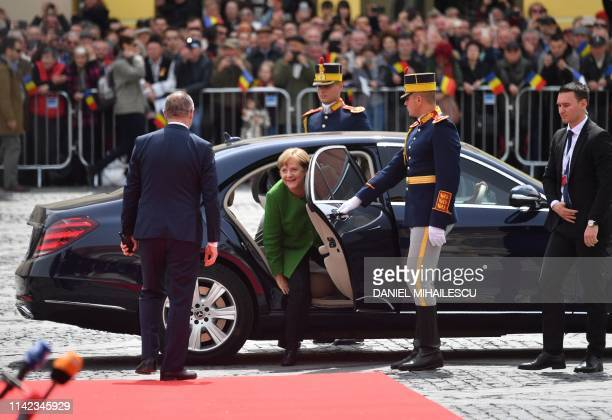 German Chancellor Angela Merkel arrives for an EU summit in Sibiu central Romania on May 9 2019 European Union leaders meet on May 9 2019 to set out...