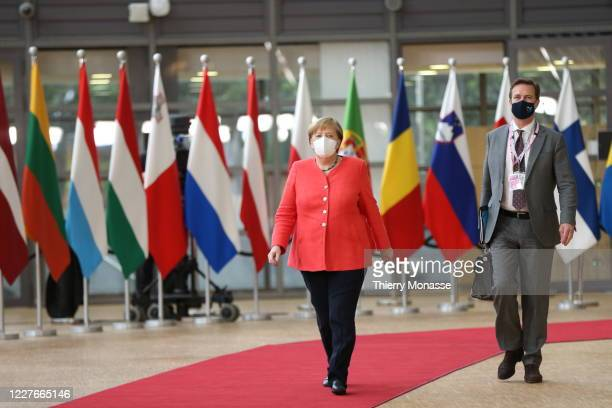 German Chancellor Angela Merkel arrives for an EU Summit on July 17, 2020 in Brussels, Belgium. European Council President Charles Michel has called...