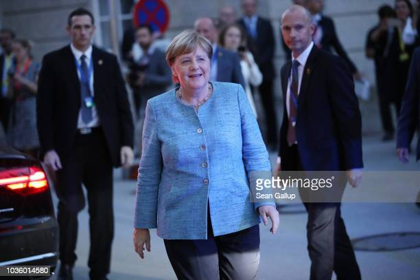 German Chancellor Angela Merkel arrives for an informal summit of leaders of the European Union on September 19 2018 in Salzburg Austria High on the...