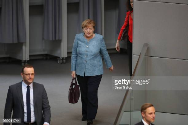 German Chancellor Angela Merkel arrives for debates at the Bundestag over the federal budget on May 16 2018 in Berlin Germany Today's debates are...