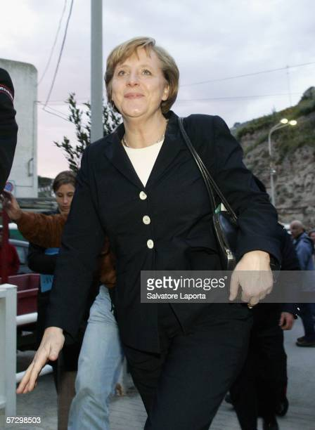 German Chancellor Angela Merkel arrives for her holidays on April 10 2006 on the island of Ischia Italy