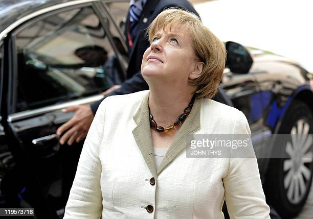 German Chancellor Angela Merkel arrives for the EU summit on July 21 2010 at the European Council headquarters in BrusselsEurozone leaders seeking to...