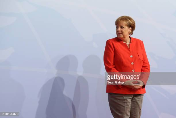 German Chancellor Angela Merkel arrives for the first day of the G20 economic summit on July 7 2017 in Hamburg Germany The G20 group of nations are...