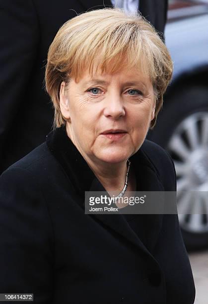 German Chancellor Angela Merkel arrives for the memorial service for Loki Schmidt wife of former German Chancellor Helmut Schmidt at the St Michaelis...