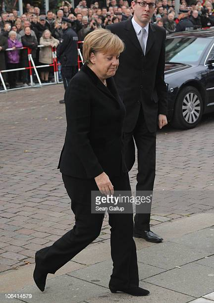 German Chancellor Angela Merkel arrives for the memorial service for Loki Schmidt wife of former German Chancellor Helmut Schmidt at the St Michaelis...