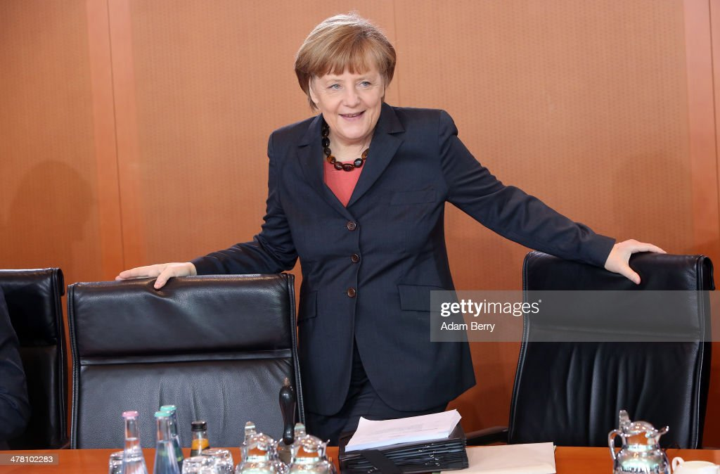 German Chancellor Angela Merkel (CDU) arrives for the weekly German federal Cabinet meeting at the federal Chancellery (Bundeskanzleramt) on March 12, 2014 in Berlin, Germany. High on the meeting's agenda was discussion of the country's budget.