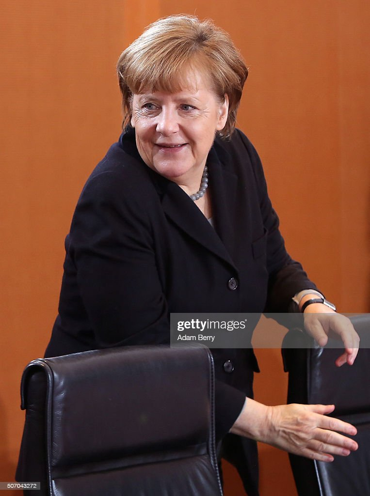German Chancellor Angela Merkel (CDU) arrives for the weekly German federal Cabinet meeting on January 27, 2016 in Berlin, Germany. High on the meeting's agenda was discussion of the country's annual business report.