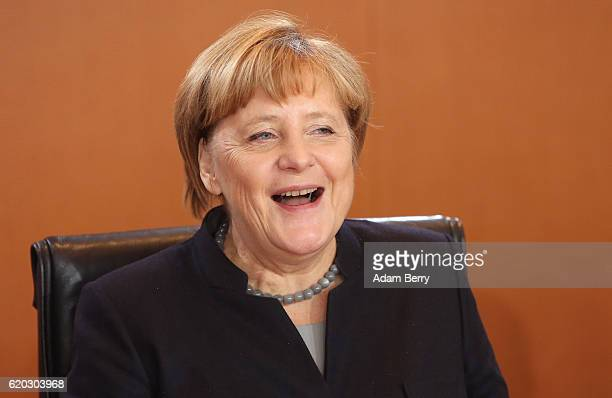 German Chancellor Angela Merkel arrives for the weekly German federal Cabinet meeting on November 2 2016 in Berlin Germany High on the meeting's...