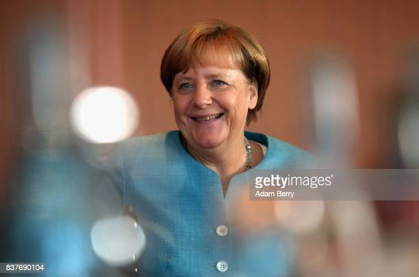German Chancellor Angela Merkel arrives for the weekly German federal Cabinet meeting on August 23 2017 in Berlin Germany High on the meeting's...