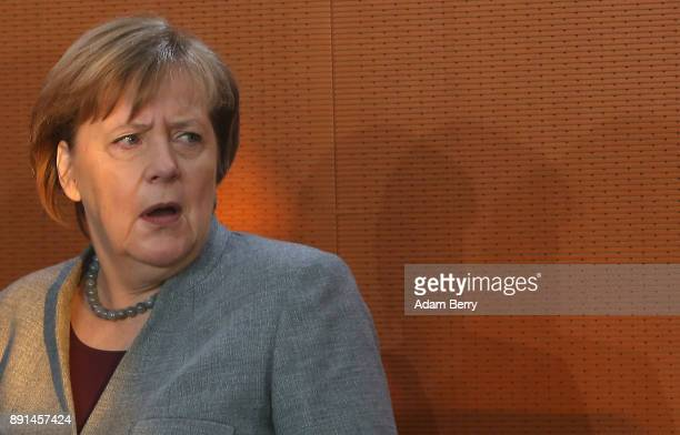 German Chancellor Angela Merkel arrives for the weekly German federal Cabinet meeting on December 13 2017 in Berlin Germany High on the agenda were...