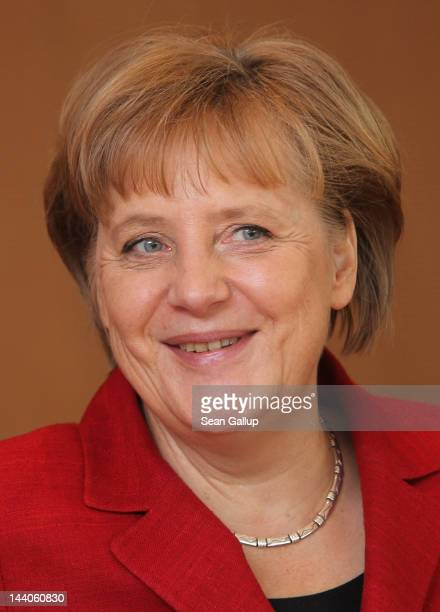 German Chancellor Angela Merkel arrives for the weekly German government cabinet meeting on May 9 2012 in Berlin Germany High on the morning's agenda...