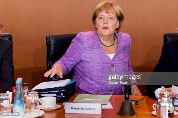 German Chancellor Angela Merkel arrives for the weekly German government cabinet meeting on September 19 2012 in Berlin Germany High on the morning's...