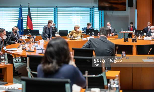 German Chancellor Angela Merkel arrives for the weekly government cabinet meeting during the third wave of the coronavirus pandemic on April 13, 2021...