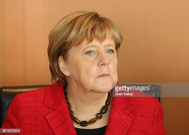 German Chancellor Angela Merkel arrives for the weekly government cabinet meeting on November 9 2016 in Berlin Germany Today is the first cabinet...