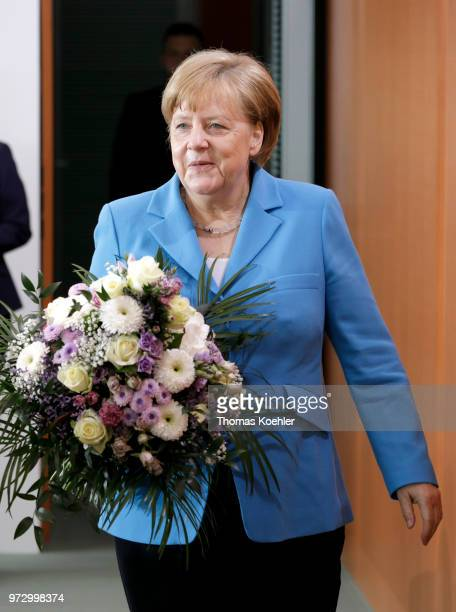 German Chancellor Angela Merkel arrives for the Weekly Government Cabinet Meeting on June 13 2018 in Berlin Germany