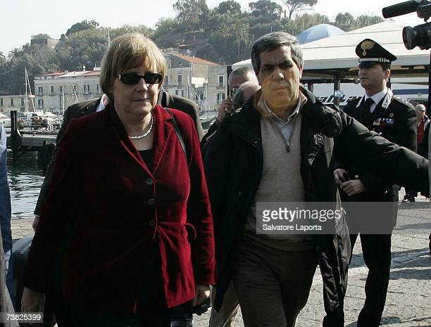 German Chancellor Angela Merkel arrives in the Island of Ischia Italy for for her holiday on April 6 2007 in Ischia Italy