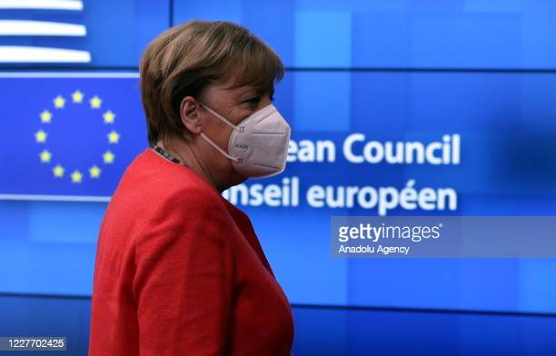 German Chancellor Angela Merkel arrives to attend European Union Leaders Summit in Brussels Belgium on July 20 2020 The leaders of the 27 EU member...