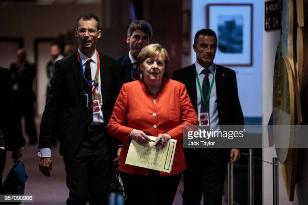 German Chancellor Angela Merkel arrives to give a press conference on the final day of the European Council leaders' summit on June 29 2018 in...