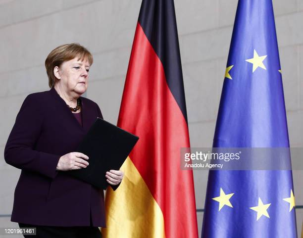 German Chancellor Angela Merkel arrives to give a statement on February 20, 2020 at the Chancellery in Berlin, following the shootings at a shisha...