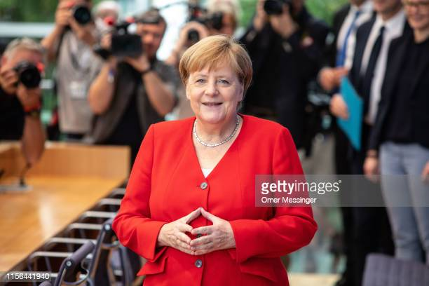 German Chancellor Angela Merkel arrives to speak to the media at her annual press conference on July 19, 2019 in Berlin, Germany. Merkel is in her...