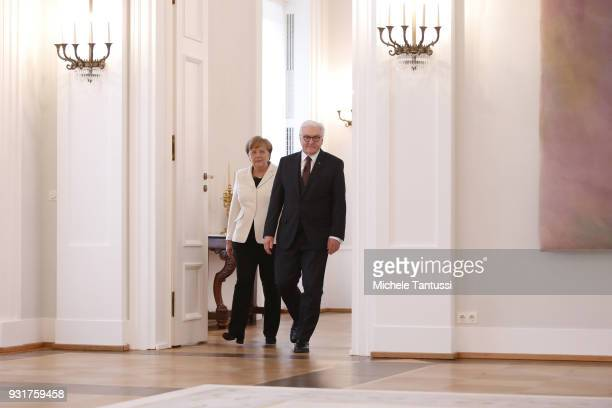 German Chancellor Angela Merkel arrives to take her oath to serve her fourth term as chancellor following her election by the Bundestag with German...