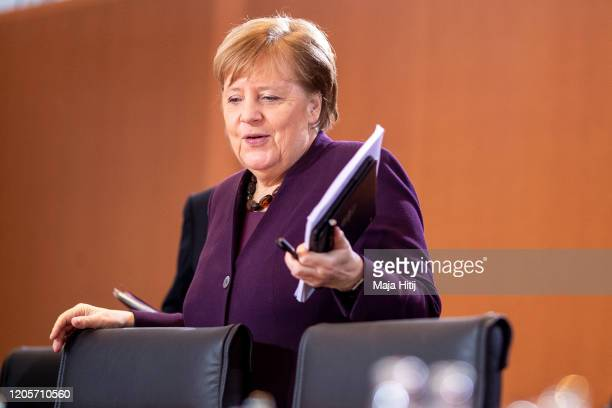 German Chancellor Angela Merkel arrives to the weekly government cabinet meeting on February 12 2020 in Berlin Germany