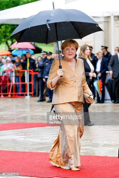 German chancellor Angela Merkel attend the Bayreuth Festival 2017 Opening on July 25 2017 in Bayreuth Germany