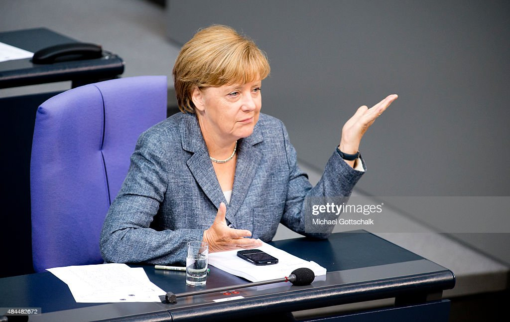 German Chancellor Angela Merkel attend the debate on financial aid for Greece in German Bundestag on August 19, 2015 in Berlin, Germany.