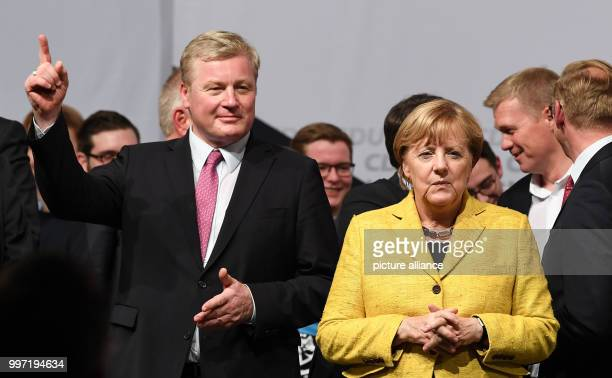German Chancellor Angela Merkel attends a campaign event of the Christian Democratic Union party together with Lower Saxony CDU top candidate, Bernd...