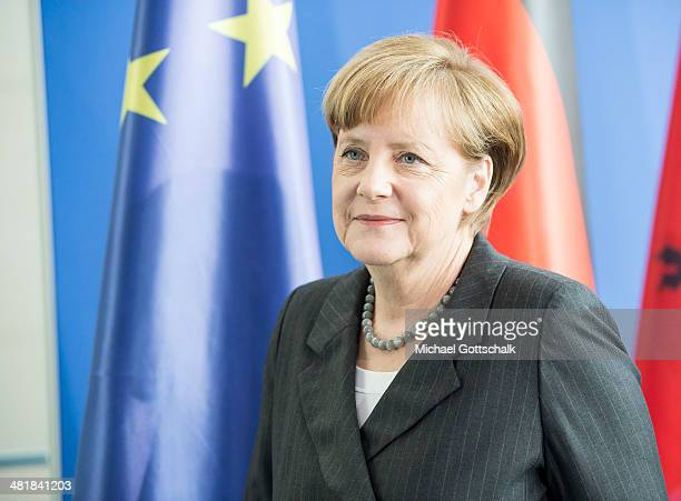 German Chancellor Angela Merkel attends a joint press conference with Albanian Prime Minister Edi Rama on April 01 2014 in Berlin Germany