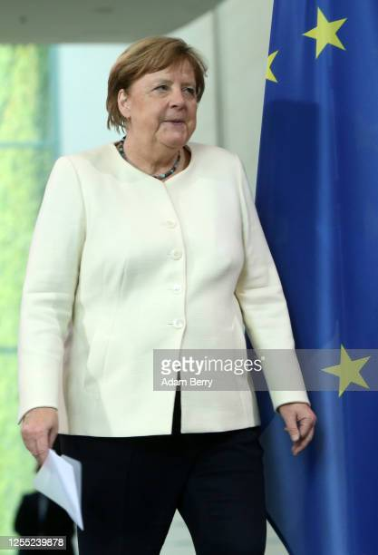 German Chancellor Angela Merkel attends a news conference with Dutch Prime Minister Mark Rutte at the German federal Chancellery on July 09 2020 in...