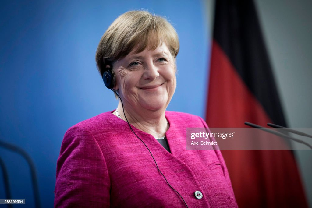 German Chancellor Angela Merkel attends a press conference at the Chancellery on May 15, 2017 in Berlin, Germany. Macron is visiting Berlin only a day after being sworn in as president in Paris. While Macron and Merkel have both demonstrated an unwavering commitment to the European Union and Merkel strongly applauded Macron's election, they are likely to differ over Macron's desire for E.U.-issued bonds, a measure Merkel has strongly opposed in the past.