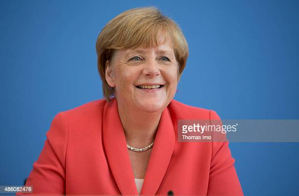 German Chancellor Angela Merkel attends a press conference on August 31 2015 in Berlin Germany During the annual press conference the German...