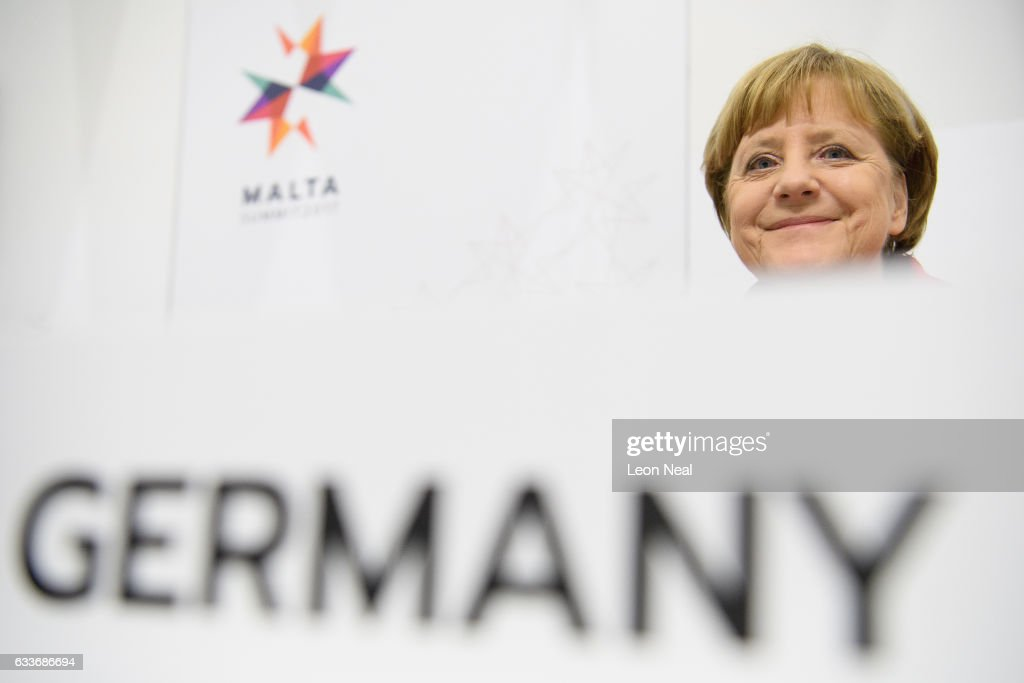 German Chancellor Angela Merkel attends a round table meeting at the EU Informal Summit on February 3, 2017 in Valletta, Malta. Theresa May attends an informal summit of the 27 EU leaders to brief them on her recent meeting with President Trump. She has secured a guarantee from Trump that he is 100% supportive of NATO and she will encourage the EU countries to contribute the agreed 2% of their GDP on defence.