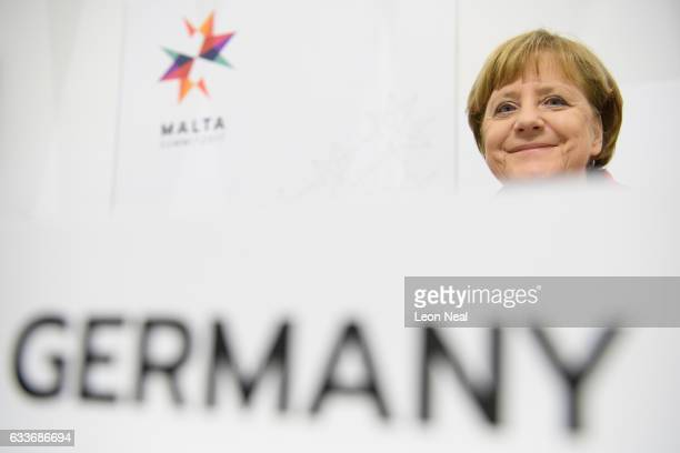 German Chancellor Angela Merkel attends a round table meeting at the EU Informal Summit on February 3, 2017 in Valletta, Malta. Theresa May attends...