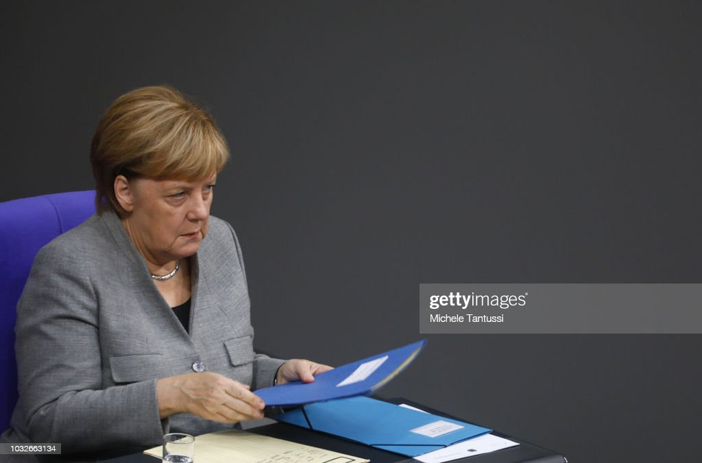 German Chancellor Angela Merkel (CDU) attends a session of the German Parliament or Bundestag on September 13, 2018 in Berlin, Germany. Relations within the governing German coalition have once again become strained, this time due to comments made by German Interior Minister and Bavarian Christian Social Union leader Horst Seehofer following the recent murder of a German by refugees and the ensuing marches by right-wing supporters in the city of Chemnitz.