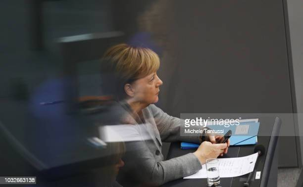 German Chancellor Angela Merkel attends a session of the German Parliament or Bundestag on September 13 2018 in Berlin Germany Relations within the...
