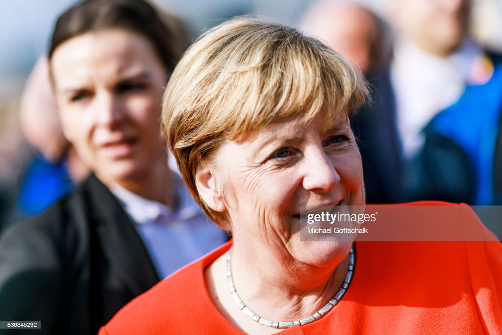 German Chancellor Angela Merkel attends her election campaign for Bundestagswahl 2017 or Federal election 2017 on August 21, 2017 in Sankt Peter-Ording, Germany.