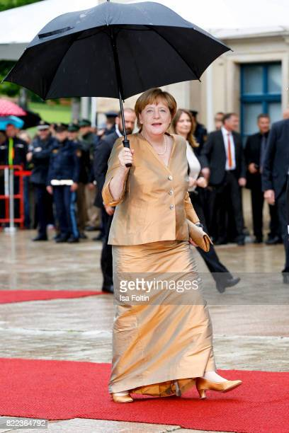 German chancellor Angela Merkel attends the Bayreuth Festival 2017 Opening on July 25 2017 in Bayreuth Germany