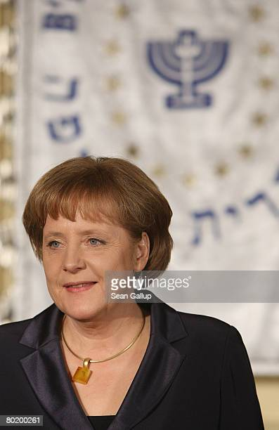 German Chancellor Angela Merkel attends the B'nai B'rith Europe Award of Merit at the Marriot hotel on March 11 2008 in Berlin Germany