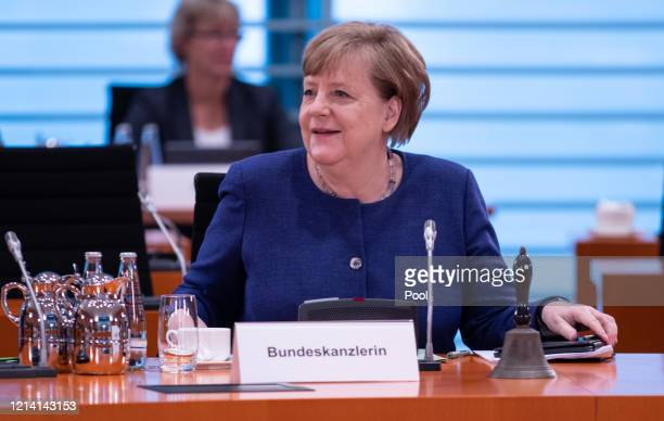 German chancellor Angela Merkel attends the Cabinet Meeting during the coronavirus on May 20 2020 in Berlin Germany