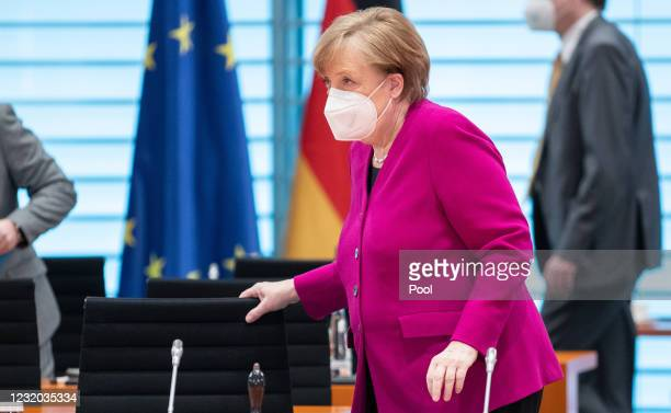 German Chancellor Angela Merkel attends the Cabinet Meeting on March 31, 2021 in Berlin, Germany.