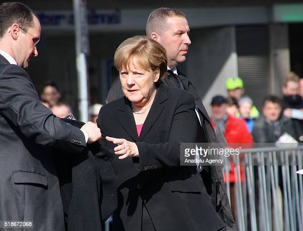 German Chancellor Angela Merkel attends the commemoration for the late former Foreign Minister of Germany Guido Westerwelle who has died aged 54,...