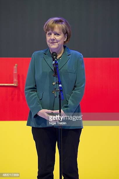 German Chancellor Angela Merkel attends The Hannover Messe industrial trade fair on April 7 2014 in Hanover Germany The Netherlands is the official...