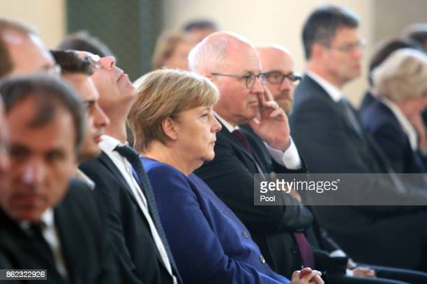 German Chancellor Angela Merkel attends the memorial service for the late German politician Heiner Geissler at St Hedwig Cathedral on October 17 2017...
